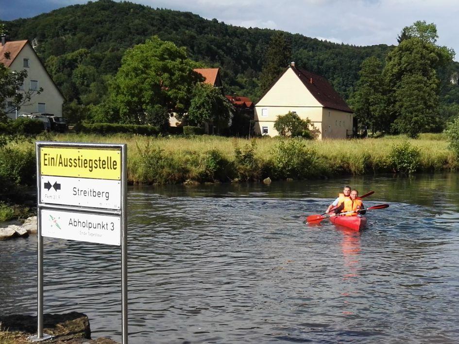 Anlegestelle für Kajakfahrer im Naturpark Fränkische Schweiz - Frankenjura