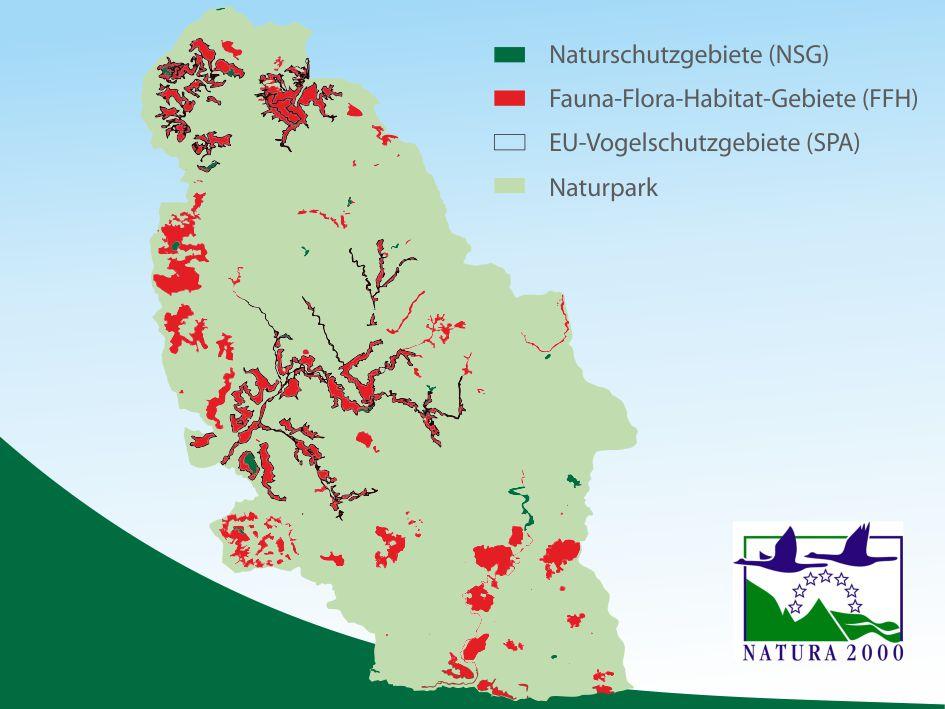 Übersichtskarte Natura 2000 Gebiete im Naturpark