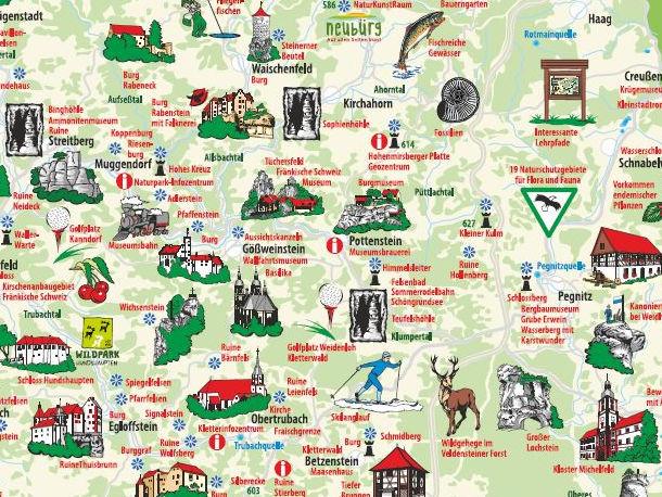 Karte vom Naturpark Fränkische Schweiz - Veldensteiner Forst