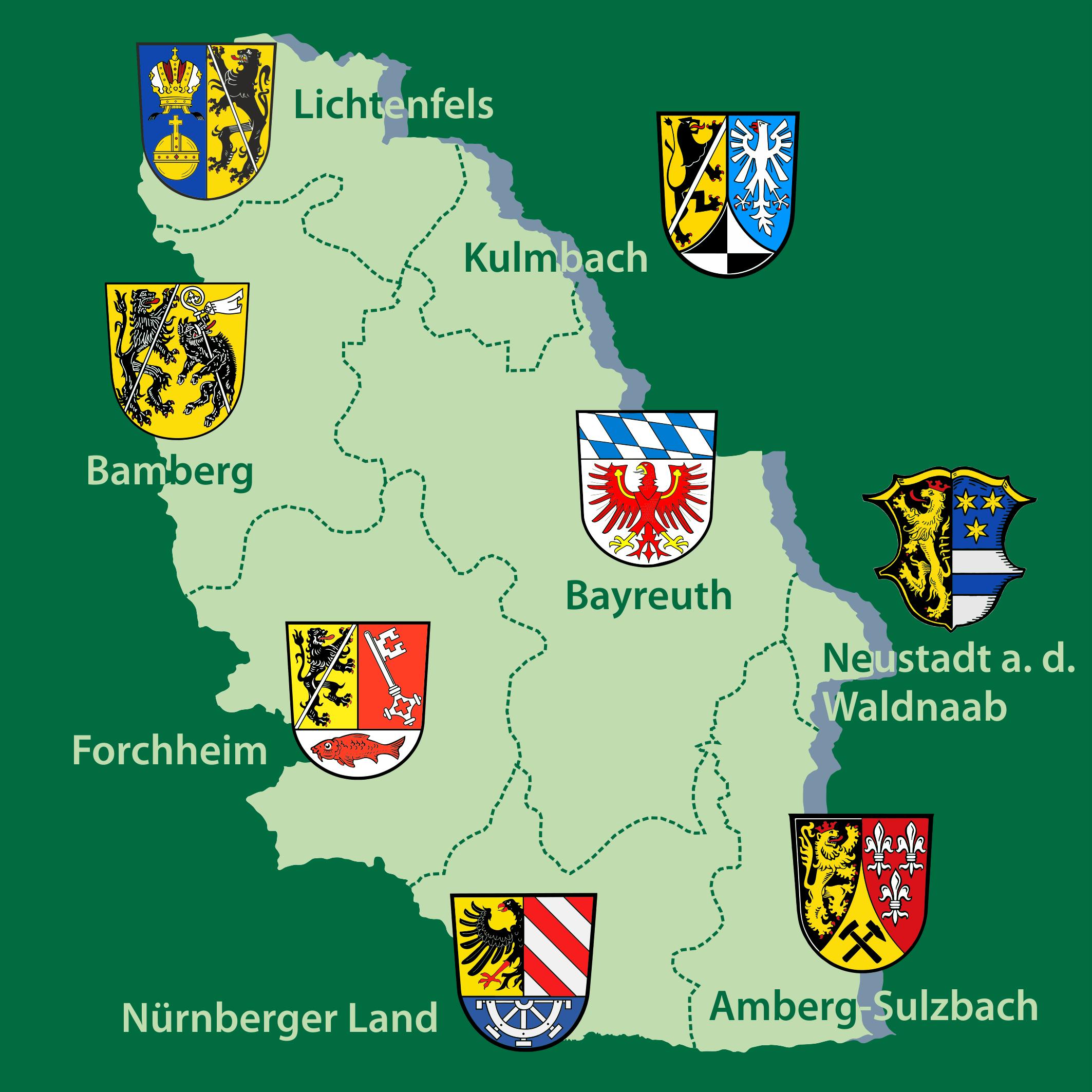Karte der Landkreise im Naturpark