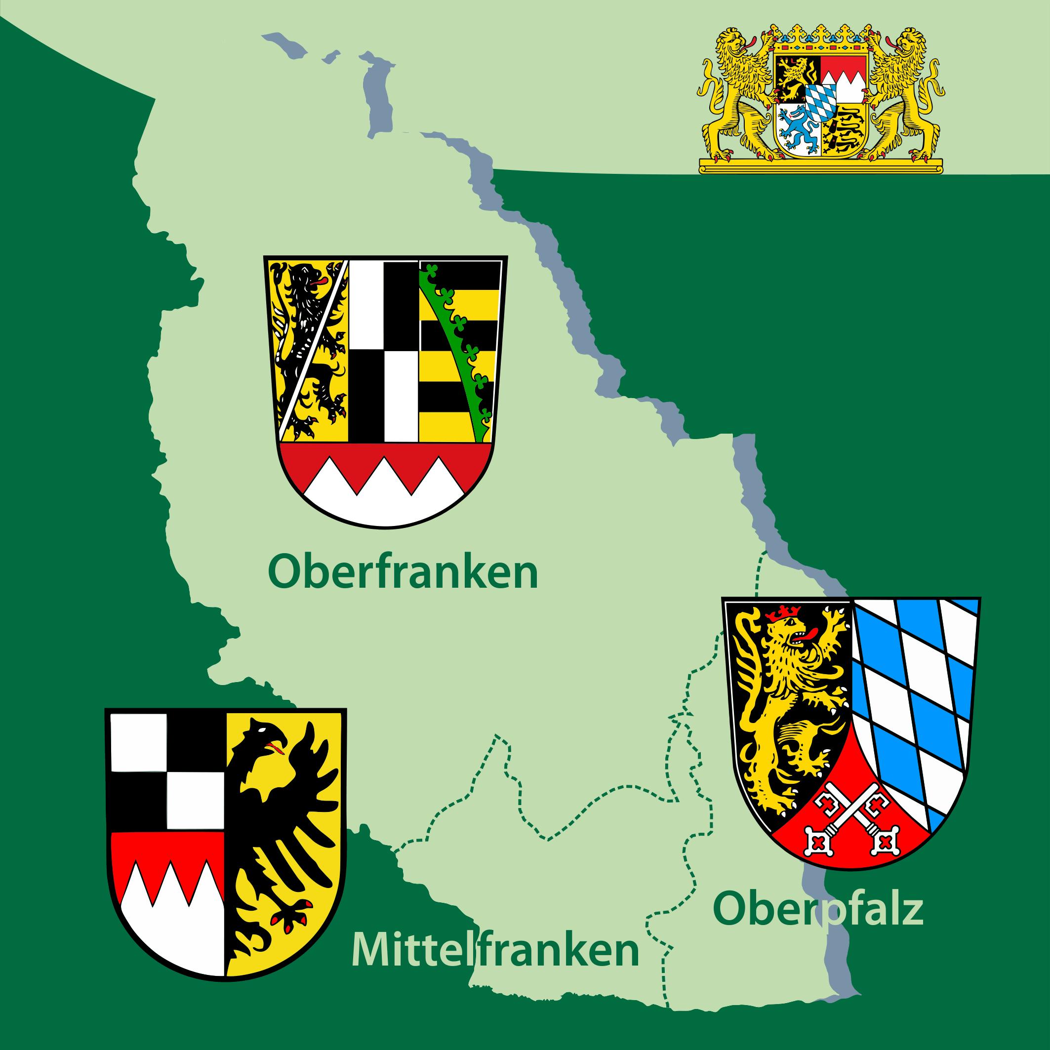 Karte der Regierungsbezirke im Naturpark