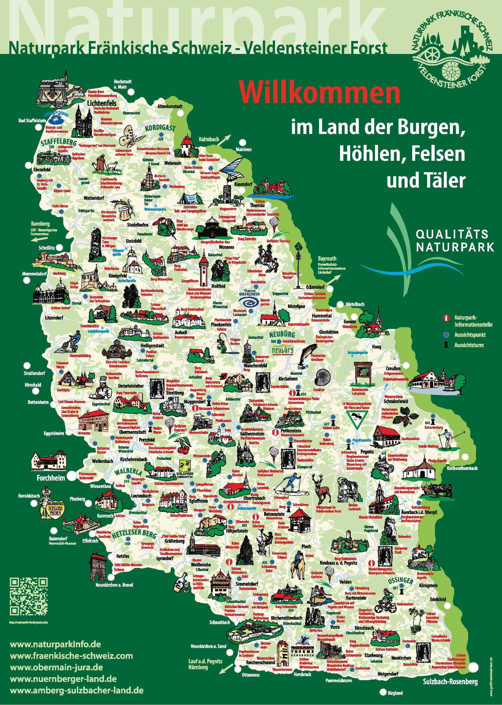 Touristische Übersichtskarte des Naturparks Fränkische Schweiz - Veldensteiner Forst