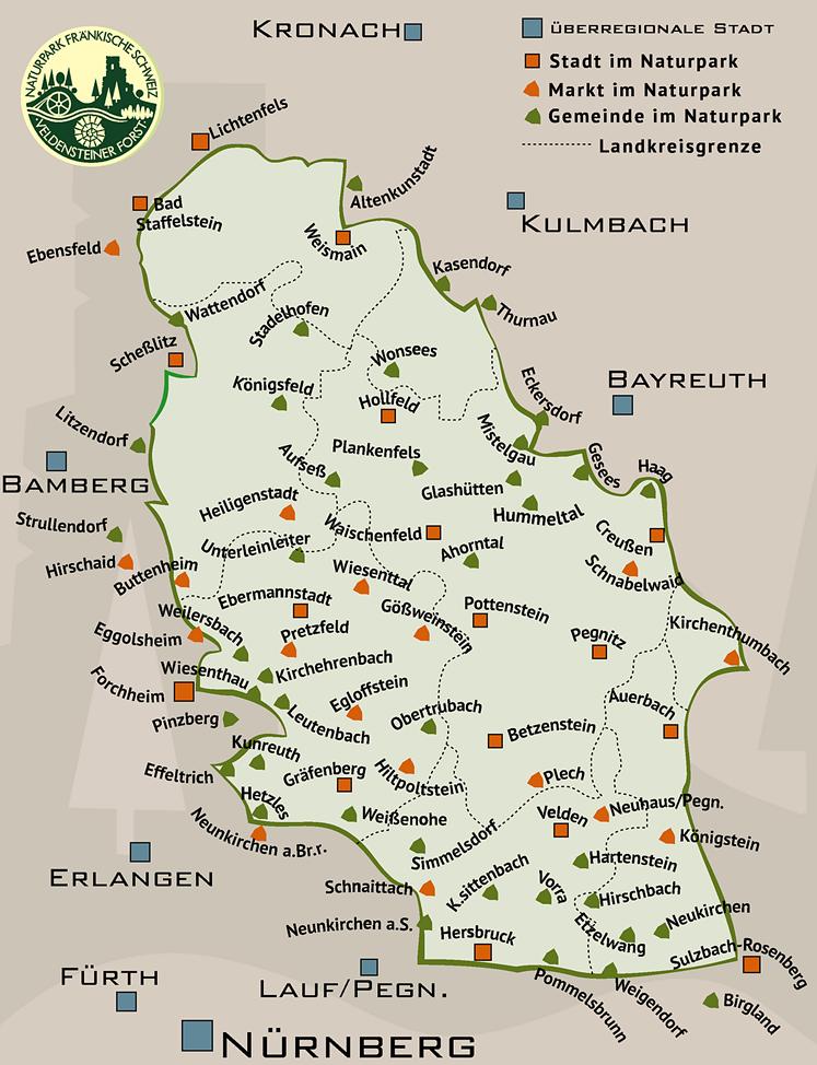 Die Gemeinden im Naturpark Fränkische Schweiz - Veldensteiner Forst