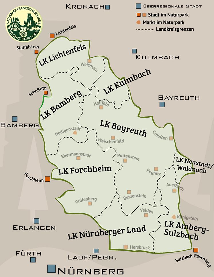 Die Landkreise im Naturpark Fränkische Schweiz - Veldensteiner Forst
