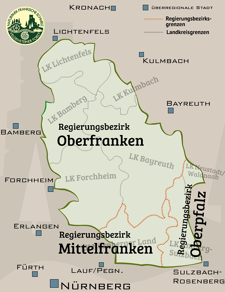 Die Regierungsbezirke im Naturpark Fränkische Schweiz - Veldensteiner Forst