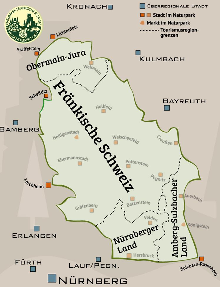 Die Tourismusregionen im Naturpark Fränkische Schweiz - Veldensteiner Forst