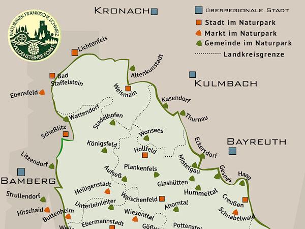 Kartenansichten des Naturparks Fränkische Schweiz - Veldensteiner Forst